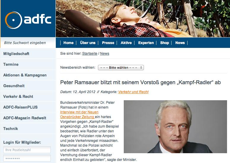 """Peter Ramsauer blitzt mit seinem Vorstoß gegen """"Kampf-Radler"""" ab"""